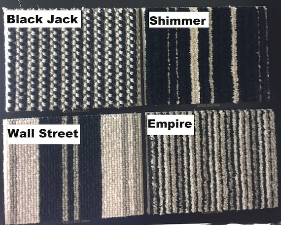 Blackjack, Empire, Shimmer & Wall Street Made with JMish 100% New Zealand Wool! - True Bullnose® Padded Carpet Stair Tread (Sold Each)