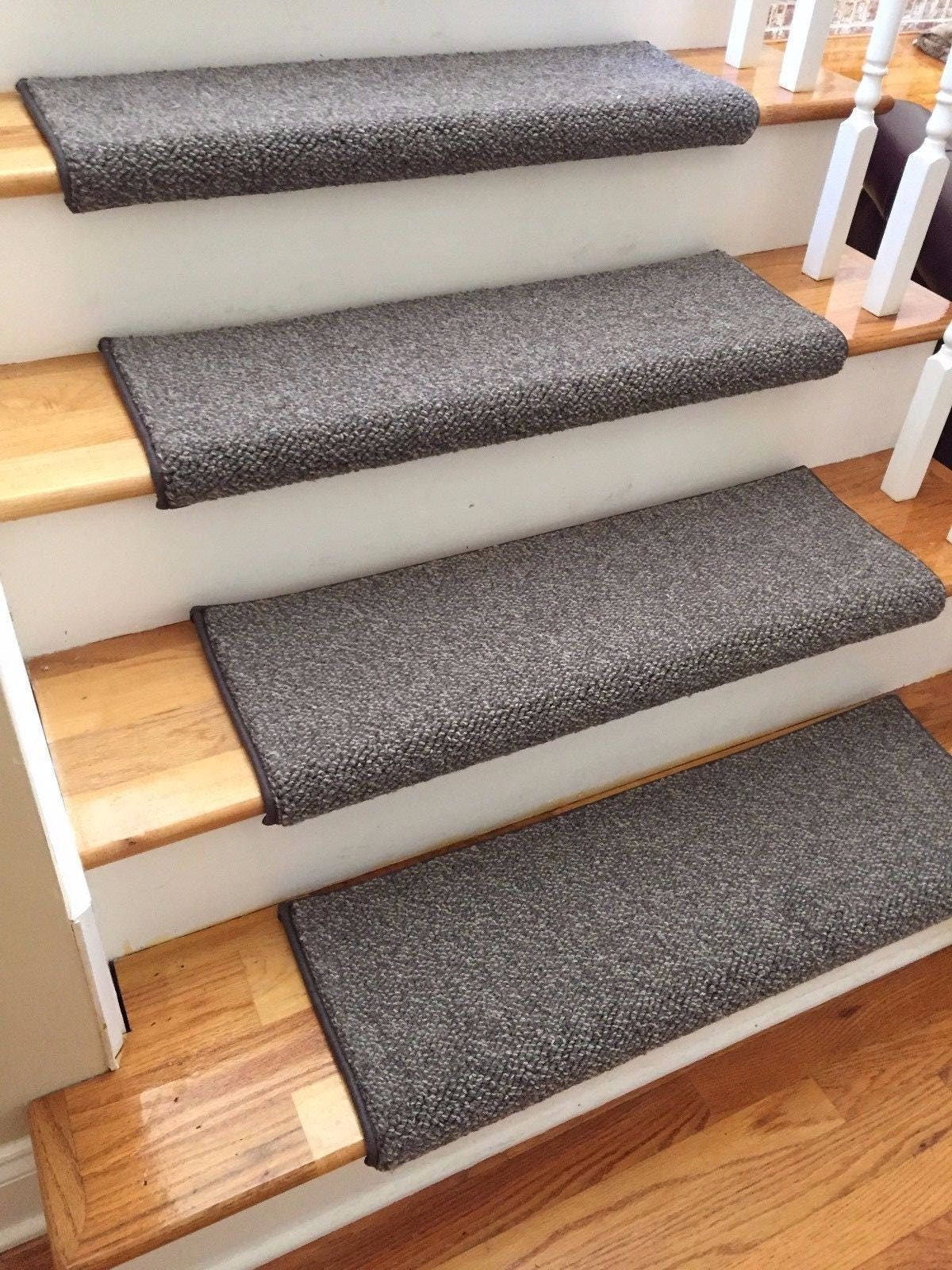 Tweed Granite Dk Brown Ecco Tex Blend New Zealand Wool TRUE Bullnose™  Carpet Stair Tread Runner Replacement Style Comfort Safety(Sold Each)