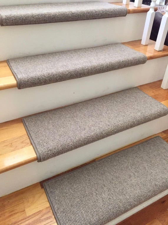 Bristol Taupe New Zealand Wool!-TRUE Bullnose™ Padded Carpet Stair Tread Runner Replacement for Style, Comfort and Safety (Sold Each)
