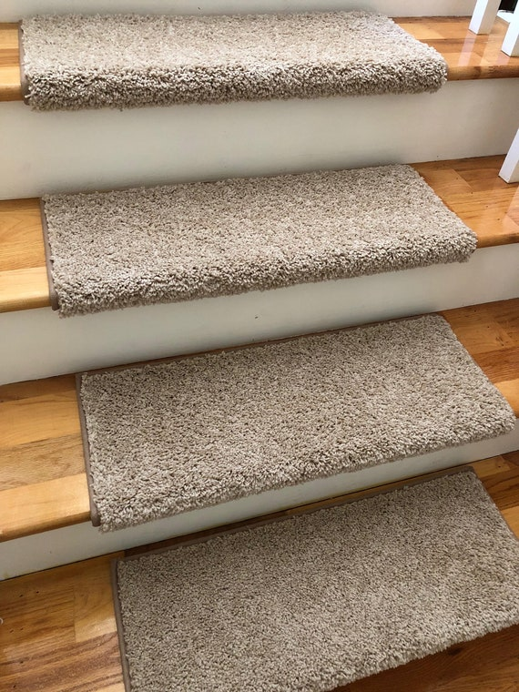 Almond True Bullnose® Carpet Stair Tread - For Safety Comfort Dog Cat Pet Runner Replacement (Sold Each)