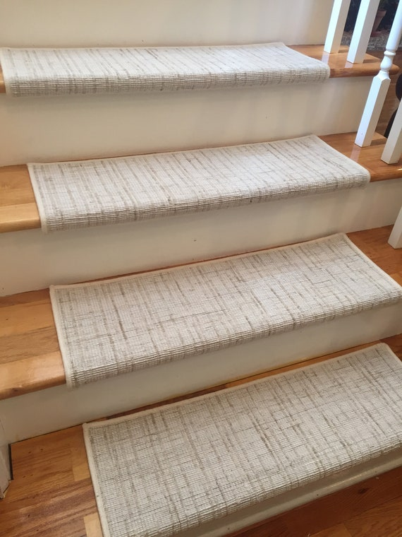 Texture Weave Ivory (and Other Colors) True Bullnose® Padded Carpet Stair Tread - For Safety Comfort Dog Cat Pet (Sold Each)