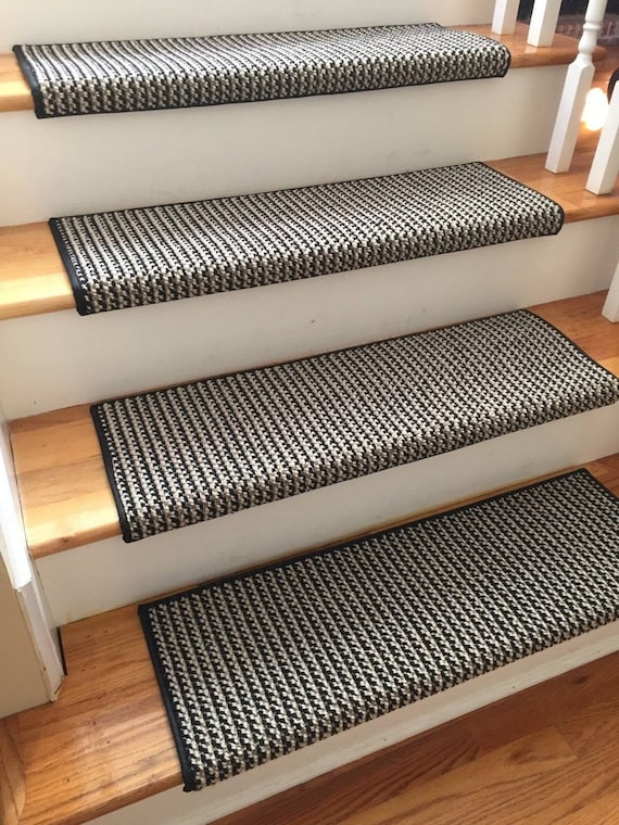 Black Jack 100% New Zealand Wool! - TRUE Bullnose™ Carpet Padded Stair Tread Runner Replacement for Style, Comfort and Safety (Sold Each)