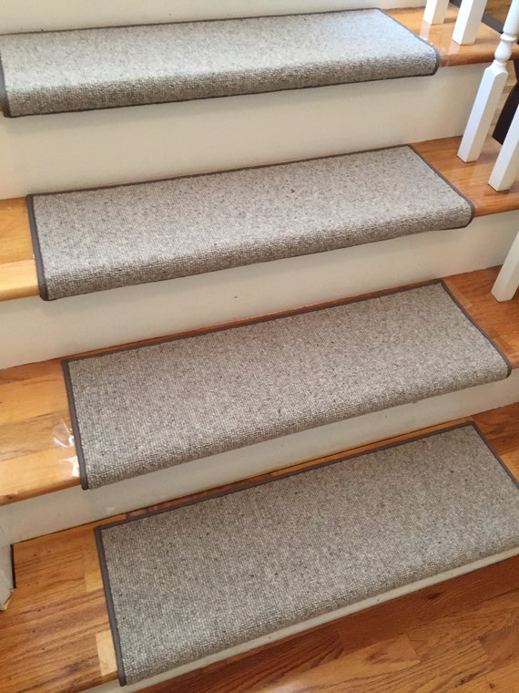 """OPEN BOX SALE! Set of 13 Morocco Stone 100% Wool True Bullnose® Padded Stair Treads 24"""" Wide X 10"""" Deep"""