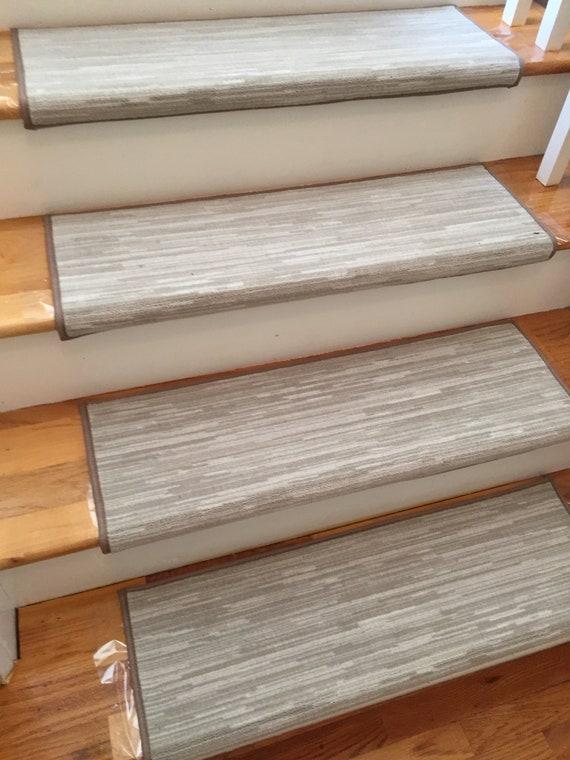 Velvet Chic Shale Stone True Bullnose® Padded Carpet Stair Tread - For Safety Comfort Dog Cat Pet (Sold Each)