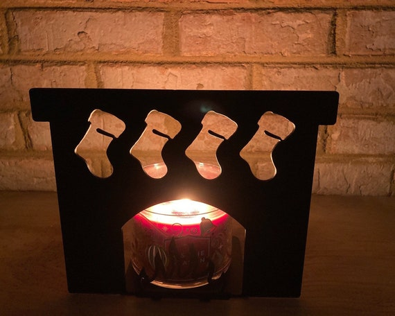Fireplace and Stockings Solid Metal Candle Holder Illuminated Luminary Projector Shadow for All Candles & Tealights