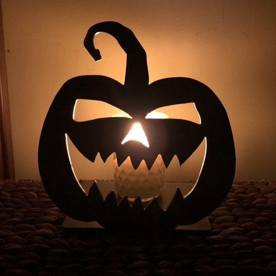 Jack-O-Lantern Solid Metal Candle Holder Illuminated Luminary Projector Shadow for All Candles & Tealights
