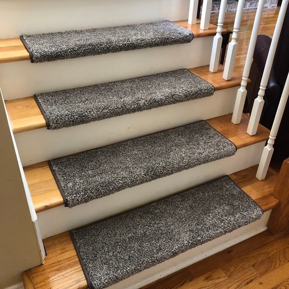 Shaw Coastal Charm Retreat Grey/Taupe Flecks (other colors available) Cut Pile True Bullnose™ Padded Carpet Stair Tread (Sold Each)