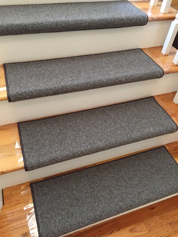 Heathercord Graphite Wool Blend True Bullnose® Padded Carpet Stair Tread Runner Replacement for Style, Comfort and Safety (Sold Each)