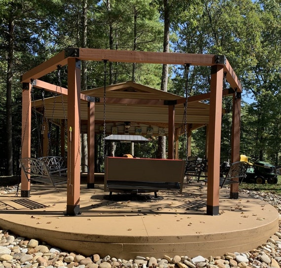 """PostHugger™ 12 pc 6x6 Top-Mount Bracket Set For Hexagon Pergola 