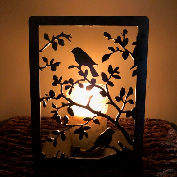 Large Birds and Leaves Solid Metal Candle Holder Illuminated Luminary Projector Shadow for All Candles & Tealights