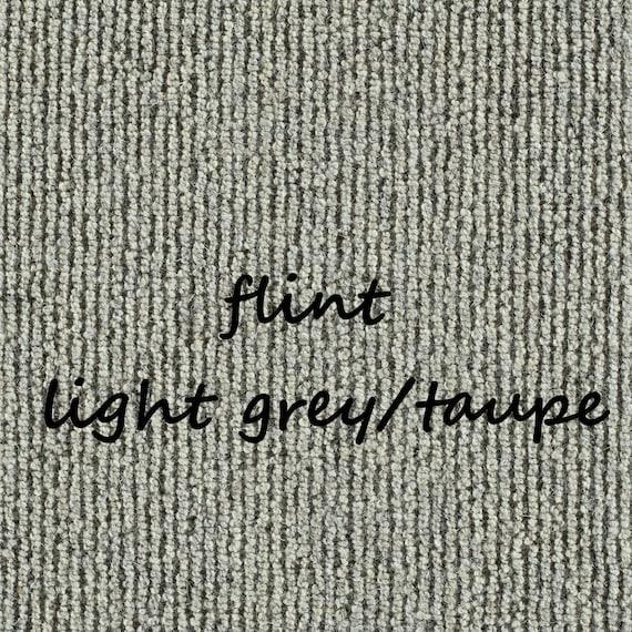 "OPEN BOX SALE! Set of 13 Big Sky Flint Light Grey 100% Wool True Bullnose® Padded Stair Treads 27"" Wide X 10"" Deep"
