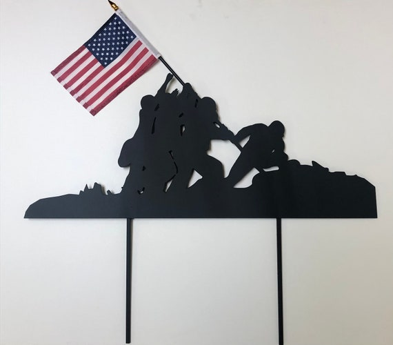 """Actual Flag Iwo Jima Yard Art Memorial Day Marker Frame Thick Steel Stake Wide 23"""" Wide x 1/8"""" Thick"""