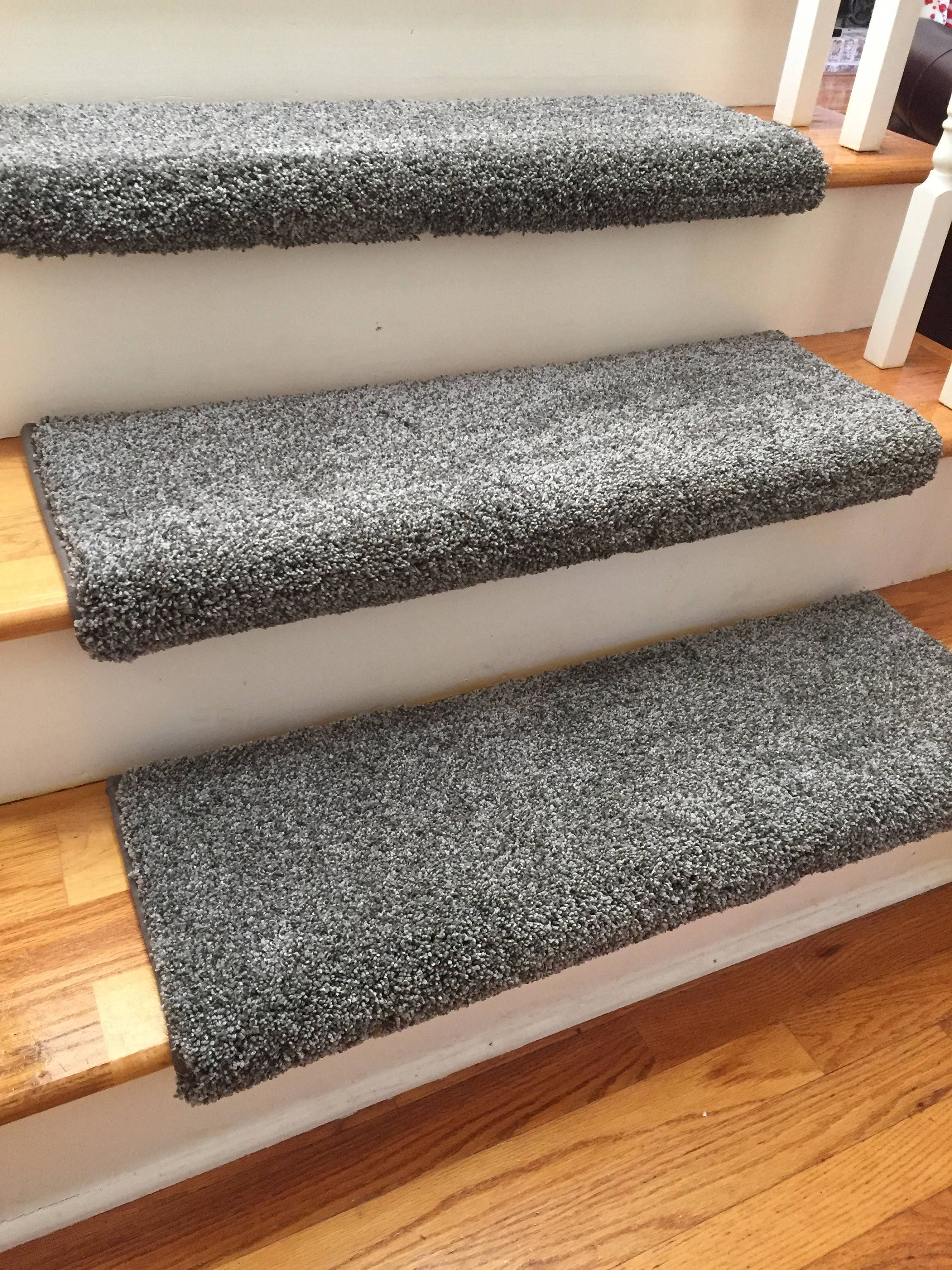 Dazzling Magma Grey Gray Plush Shag True Bullnose™ Carpet Stair Tread   For  Safety Comfort Dog Cat Pet (Sold Each)
