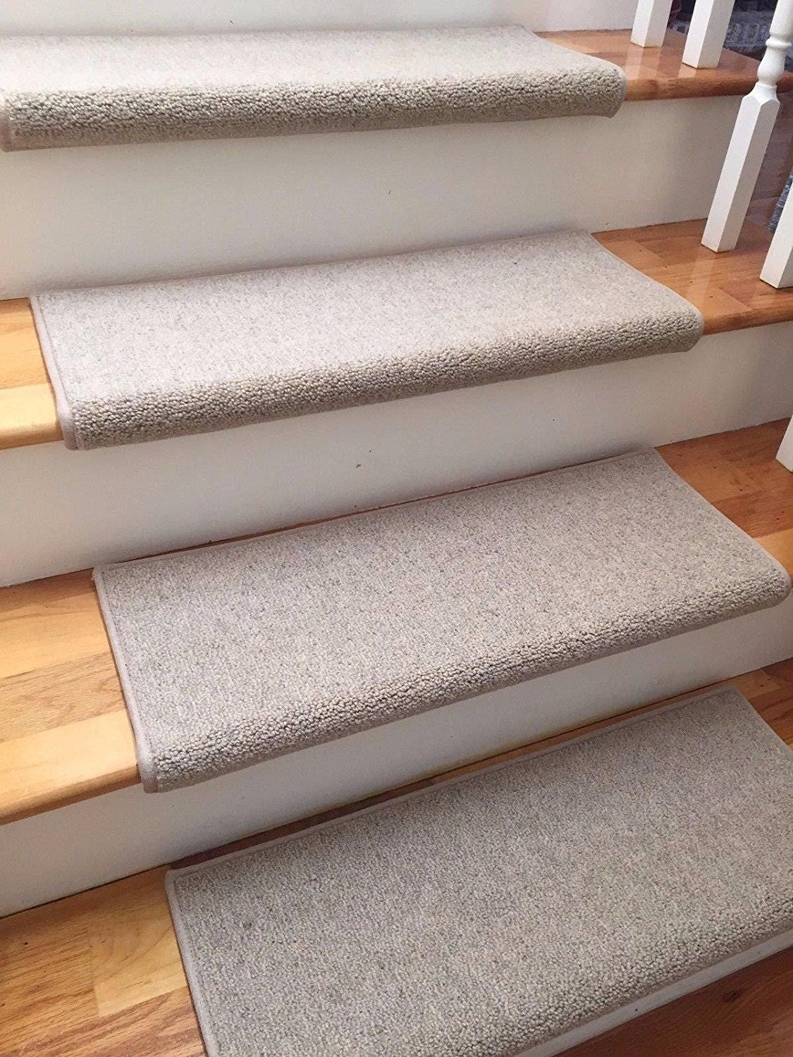 Limited Time/price   Ready To Ship! 27 Wide Richmond Linen Wool! TRUE  Bullnose Carpet Stair Tread Runner Replacement (Sold Each)
