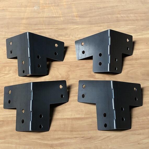 "PostHugger™ Sloped Outside Corner Brackets For 4 x 4 Posts   Heavy Duty Shop Pergola Brackets!   T's L's Available   1/8"" Plate Steel USA!"