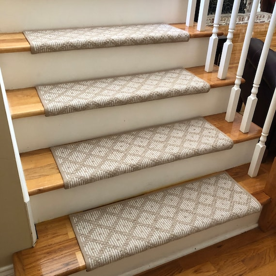 """Ready to Ship! J Mish Tiburon Light Beige 100% Wool True Bullnose® Padded Stair Tread 31"""" wide - For Safety Comfort Dog Cat Pet (Sold Each)"""