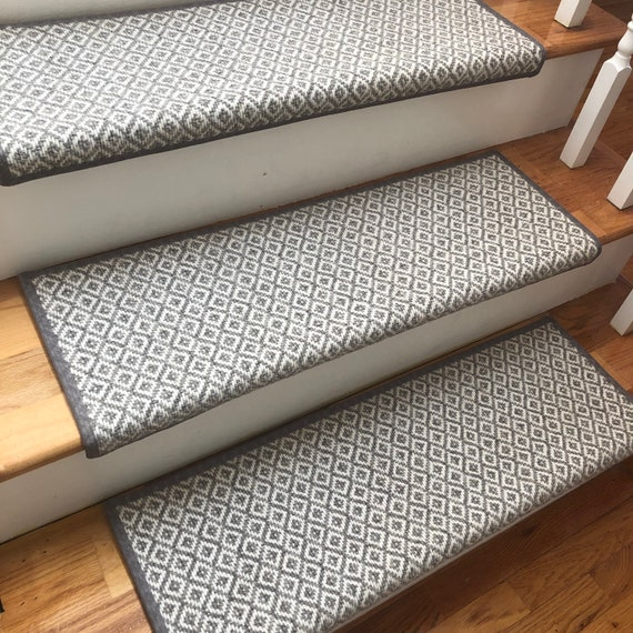 PADDED Breckenridge Light Grey Flat Woven 100% Wool True Bullnose® Carpet Stair Tread Runner Replacement Style Comfort & Safety (Sold Each)
