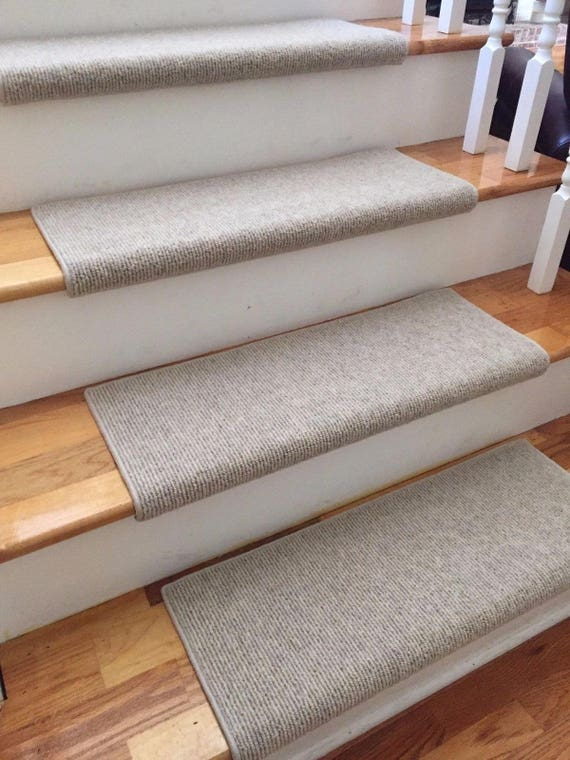 Bristol Crème New Zealand Wool!-True Bullnose® PADDED Carpet Stair Tread Runner Replacement for Style, Comfort and Safety (Sold Each)