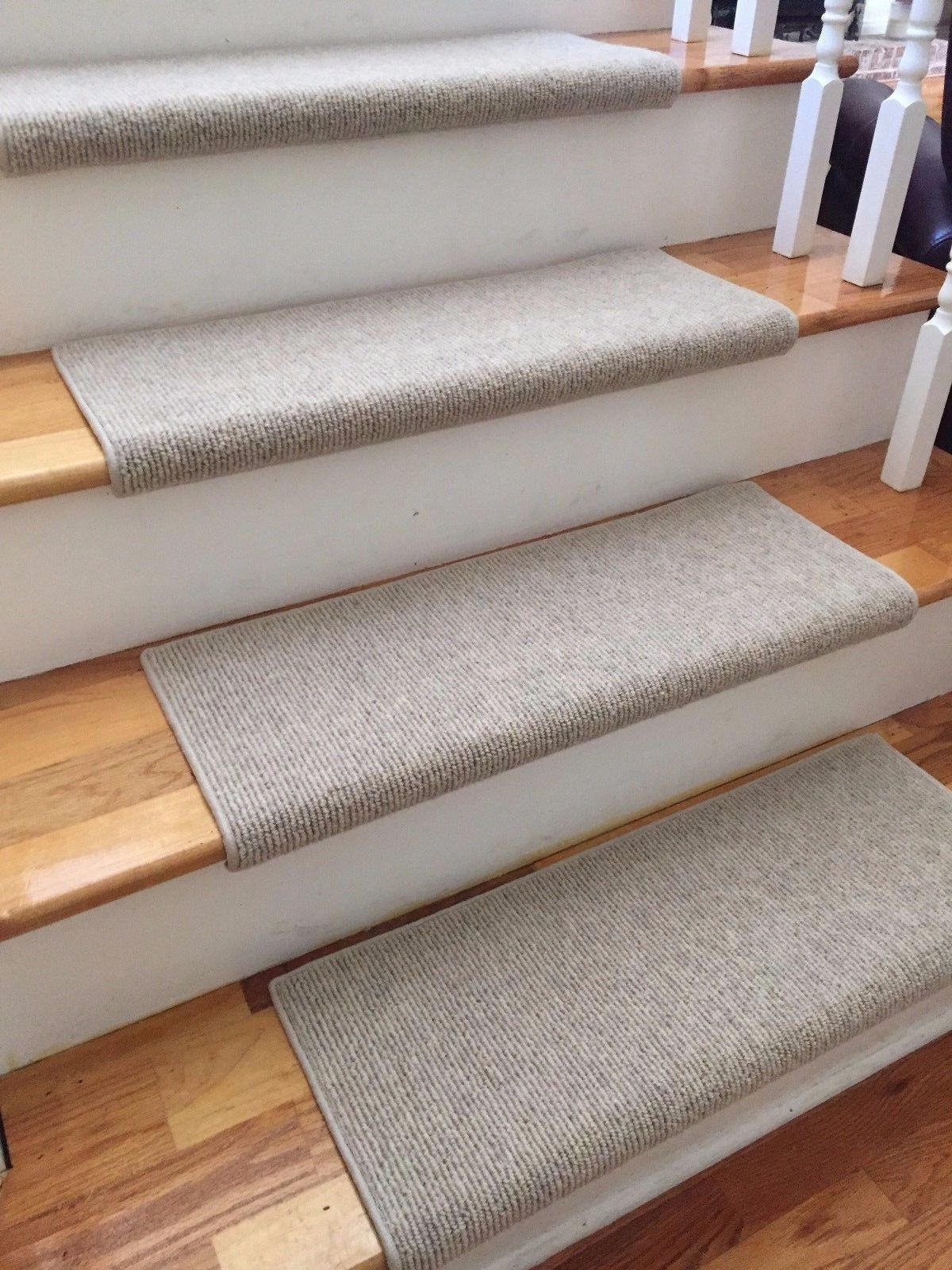Morocco Wheat 100 Wool True Bullnose Carpet Stair Tread