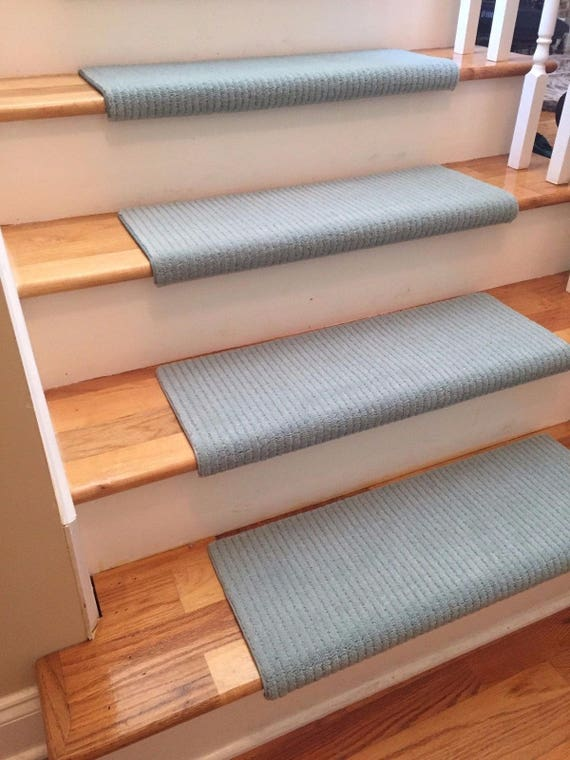 """CLEARANCE BOX SET! Set of 13 Palladian Touch of Teal 100% New Zealand Wool! True Bullnose™ Padded Carpet Stair Treads 27"""" wide X 10"""" deep"""