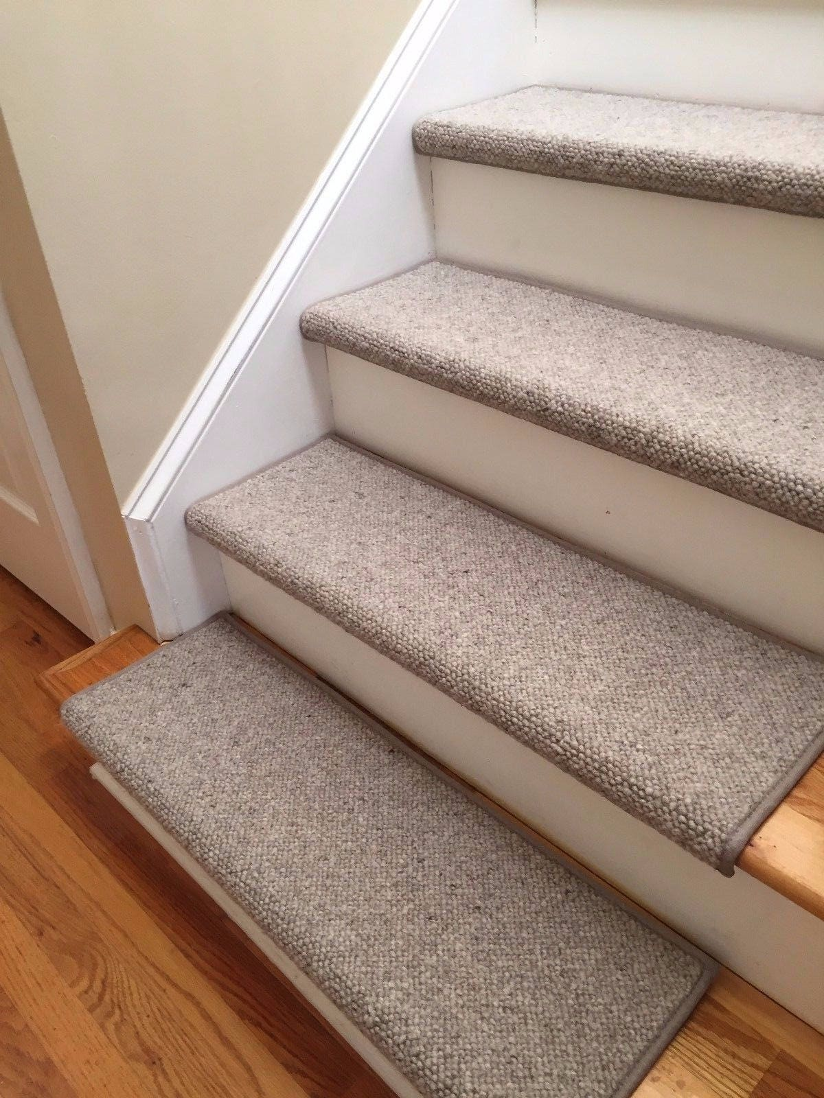 Alfa Stone 100% Wool TRUE Bullnose™ Carpet Stair Tread Handmade Step Cover  Comfort Safety Dog Cat Pet Runner  (Sold Individually)