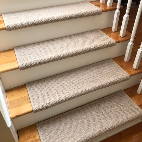 Ready to ship! Windsor Taupe 100% Wool TRUE Bullnose™ Padded Carpet Stair Tread Dog Cat Pet Safety Runner Replacement (Sold Per Step/Each)
