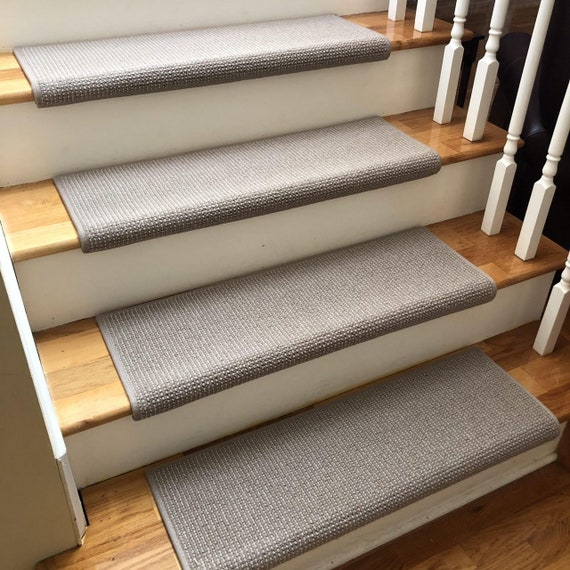 """Ready to Ship Matrix Shadow 100% New Zealand Wool-True Bullnose® Padded Carpet Stairs 31"""" wide x 10"""" deep (Sold Each)"""