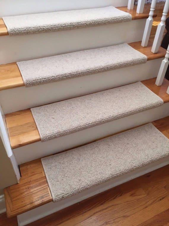 JMish Alfa Beige 100% Wool True Bullnose® Padded Carpet Stair Tread JMish (Sold Per Step/Each)