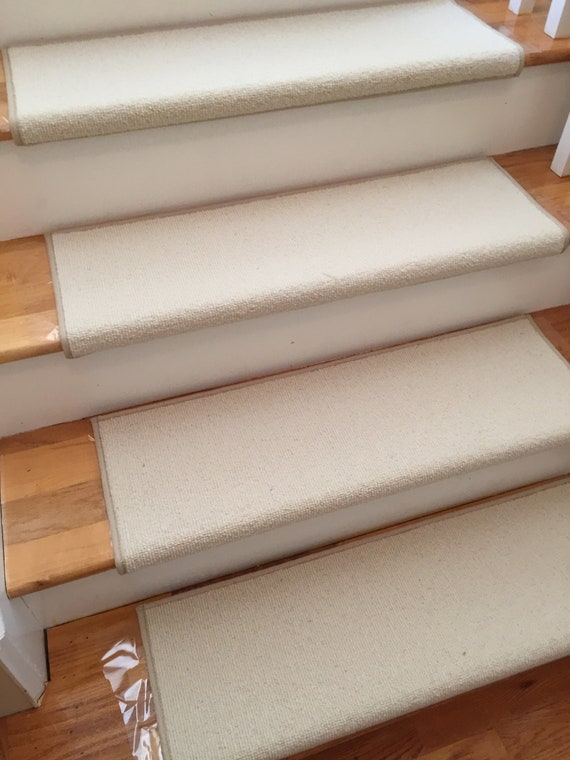 Morocco Cream 100% Wool! True Bullnose® Padded Carpet Stair Tread Runner Replacement for Style, Comfort and Safety (Sold Each)