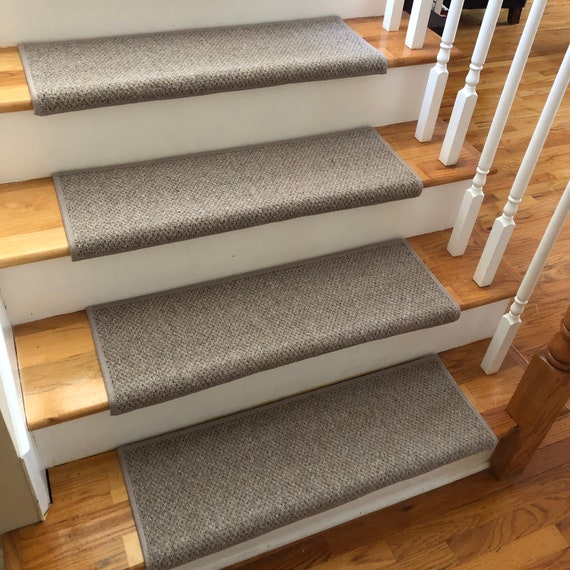 Windsor Driftwood 100% Wool True Bullnose® Padded Carpet Stair Tread JMish Dog Cat Pet Safety Runner Replacement (Sold Per Step/Each)