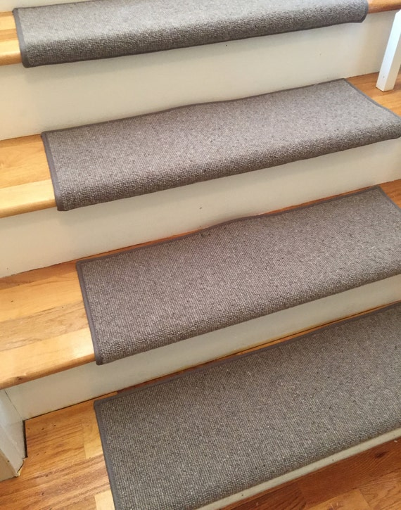 Morocco Thatch 100% Wool! PADDED True Bullnose Padded Carpet Stair Tread Runner Replacement for Style, Comfort and Safety (Sold Each)