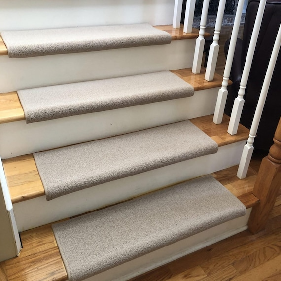 Wool Tip Shear II Flax New Zealand Wool True Bullnose® Padded Carpet Stair Tread Runner Replacement - Style, Comfort and Safety (Sold Each)