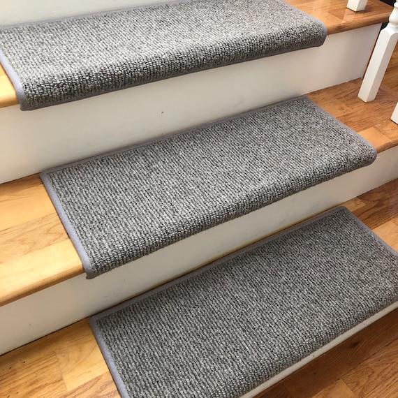 Big Sky Medium Light Grey 100% Wool True Bullnose® Padded Carpet Stair Tread JMish Step Comfort Safety Dog Pet Runner (Sold Per Step/Each)