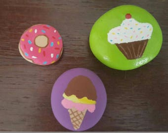 rock paint sweet cupcake, ice cream and donut lot