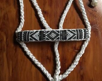 Beaded Mule Tape Halter-White/Black, Braided Mule Tape Halter, Custom, Horse, Lead Rope
