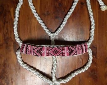 Beaded Mule Tape Halter-Pink/Brown