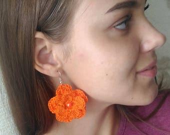 Crochet Earrings Orange Flower Free shipping Made in Russia