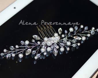 Bridal hair comb, Gold comb, Wedding hair comb, Bridal headpiece, bridal hair accessories, Pearl hair comb, Bridal gold comb, wedding comb