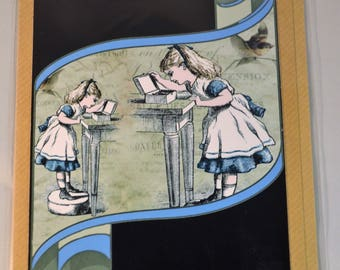 Handmade / Victorian Tenniel Print / Alice in Wonderland Collage / Alice opening a box set within an old Scroll on Eco Friendly Craft Paper