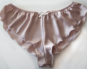 36a18680c1cd Silky Satin Micro French Knickers *New Cappuccino design* sexy panties  lingerie