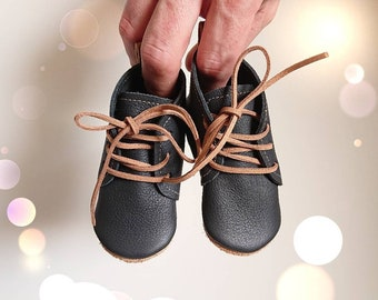 """Funky baby boots """"Oskar"""", baby boots, soft sole shoes, baby lace-up shoes, cowhide booties, baby booties, size 16-25, grey, cognac"""