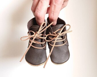 """Funky baby boots """"Oskar"""", baby boots, soft sole shoes, baby lace-up shoes, cowhide booties, baby booties, size 16-25, brown, cognac"""