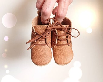 """Funky baby boots """"Oskar"""", baby boots, soft sole, baby lace-up shoes, cowhide crawling shoes, baby booties, size 16-25, cognac"""