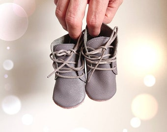 """Funky baby boots """"Suse"""", baby boots, soft sole, baby lace-up shoes, cowhide booties, baby booties, size 16-25, ash purple, old pink"""