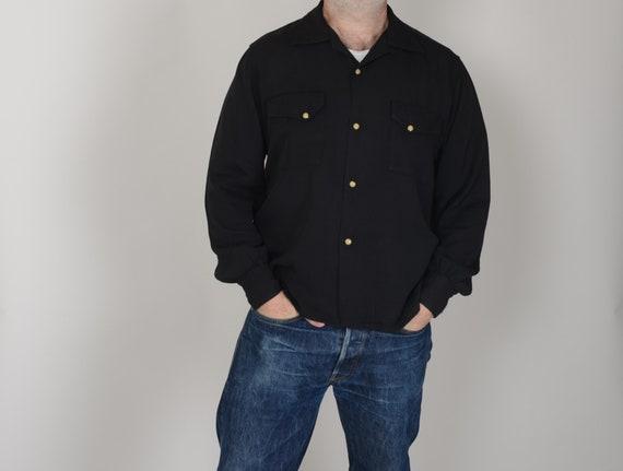 1950s Jet Black gabardine western shirt, loop coll