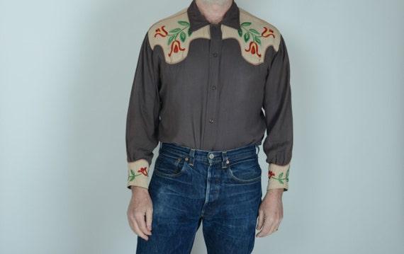 1940s gabardine embroidered western shirt, M, True