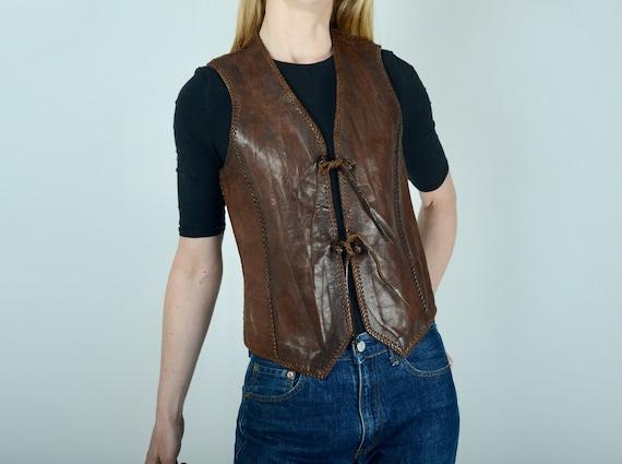 1970s North Beach leather waistcoat, vest, western