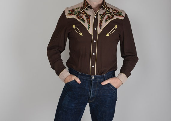 1940s two tone gabardine embroidered western shirt