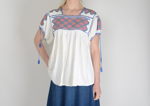 1960s Mexican embroidered smock top, Huipil, Oaxac
