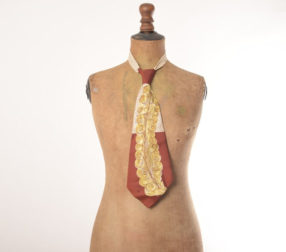 1940s Pilgrim De Luxe feather print rayon tie, Lin